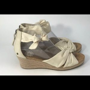 UGG Traci Wedge Cream Canvas Espadrille Sandal 9